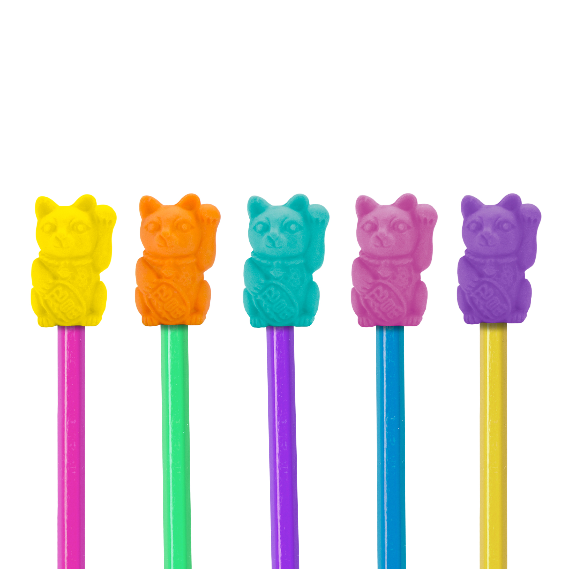 Lucky Cat Erasers Toppers Gomme chat