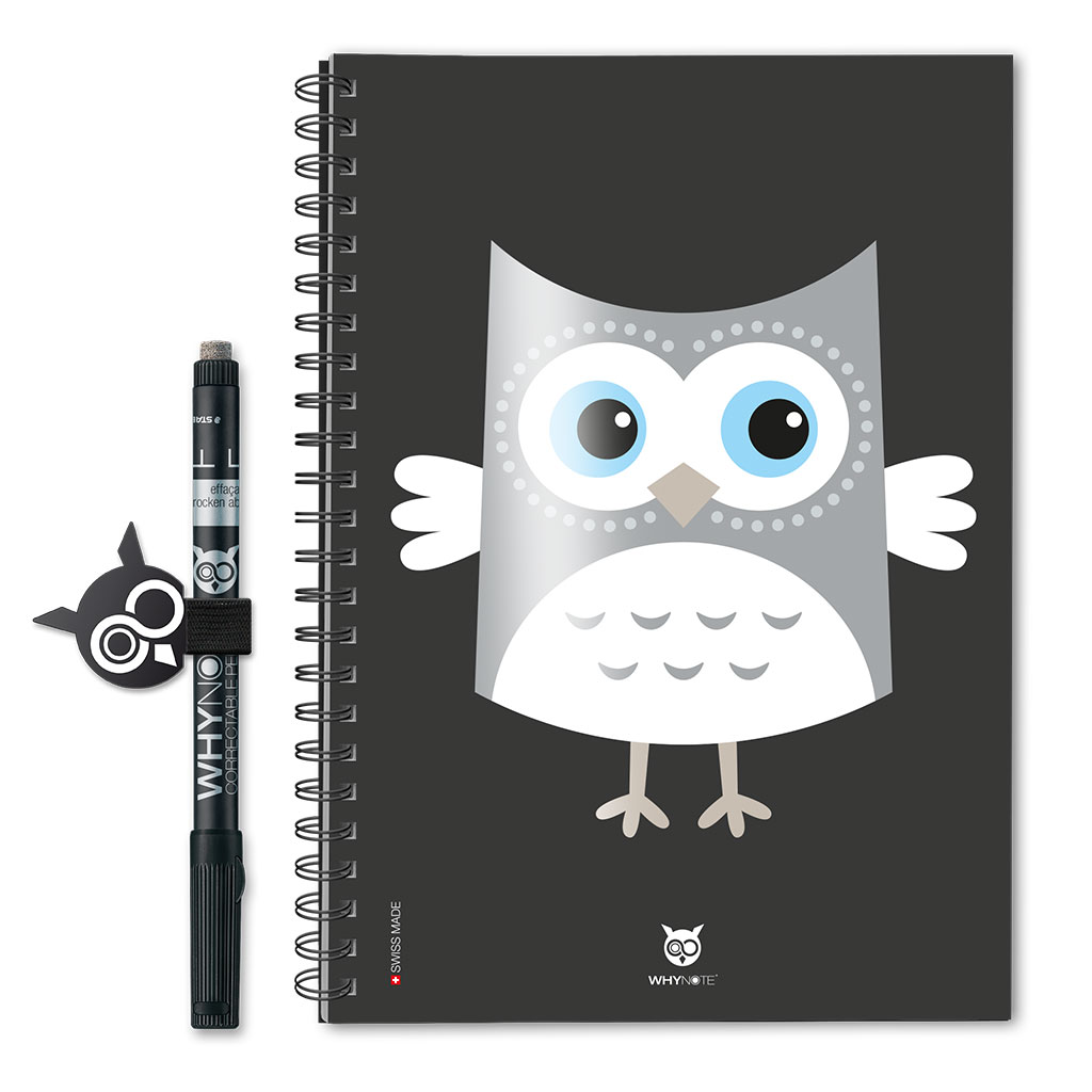 Whynote Book Eco - A5 - Cartoon Owl Grey Whynote Book Eco - A5 - Cartoon Owl Grey
